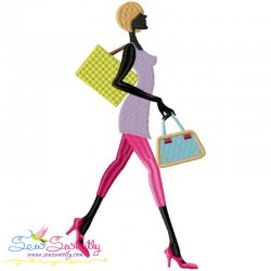 Shopping Lady-9 Machine Embroidery Design