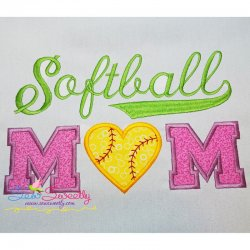 Softball Mom Applique Design
