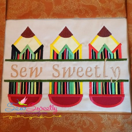Split Pencils Applique Design