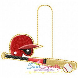 Baseball With Helmet Key Fob In The Hoop Embroidery Design