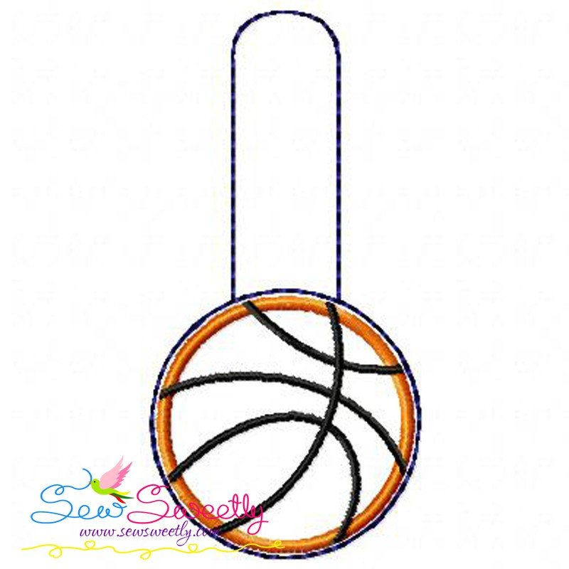 Basketball key fob in the hoop machine embroidery design