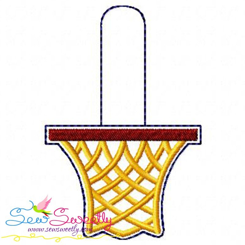 Basketball net key fob in the hoop machine embroidery design