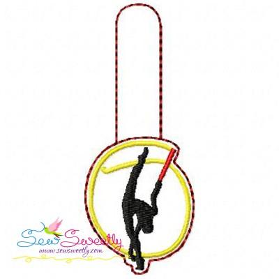 Rhythmic Gymnastics With Ribbon Key Fob In The Hoop Embroidery Design