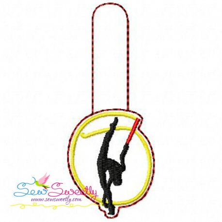 Rhythmic Gymnastics With Ribbon Key Fob In The Hoop Embroidery Design Pattern- Category- In The Hoop (ITH) Designs- 1