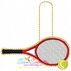 Tennis Racket And Ball Key Fob In The Hoop Embroidery Design