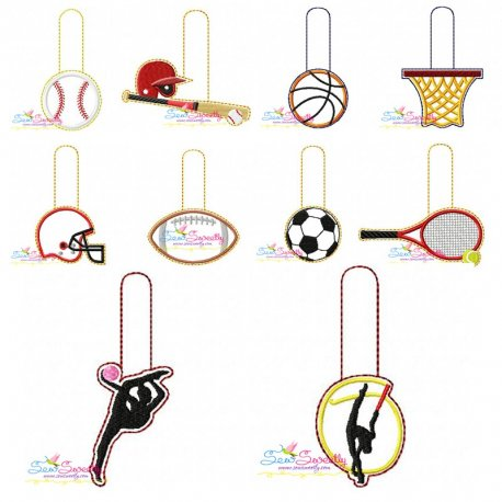 Sports Key Fobs In The Hoop Embroidery Design Bundle Pattern- Category- Embroidery Design Bundles- 1