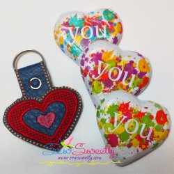 Heart Key Fob In The Hoop Embroidery Design