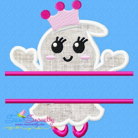 Girl Ghost Split Machine Applique Design For Halloween