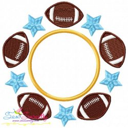 Football Star Monogram Embroidery Design
