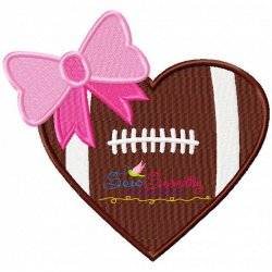 Football Heart Machine Embroidery Design