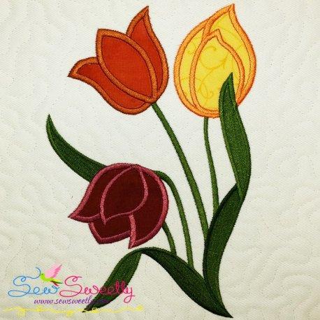 Spring Flowers Applique Design Pattern- Category- Floral Designs- 1