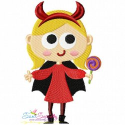 Girl Devil Embroidery Design
