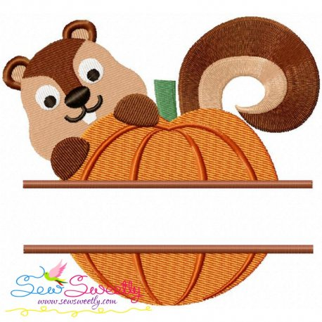 Pumpkin Split Embroidery Design Pattern- Category- Fall And Thanksgiving- 1