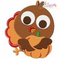 Turkey With Pumpkin Embroidery Design