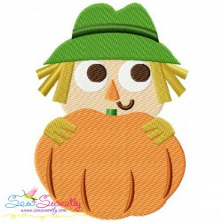 Scarecrow With Pumpkin Embroidery Design