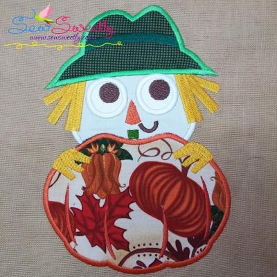 Scarecrow With Pumpkin Applique Design