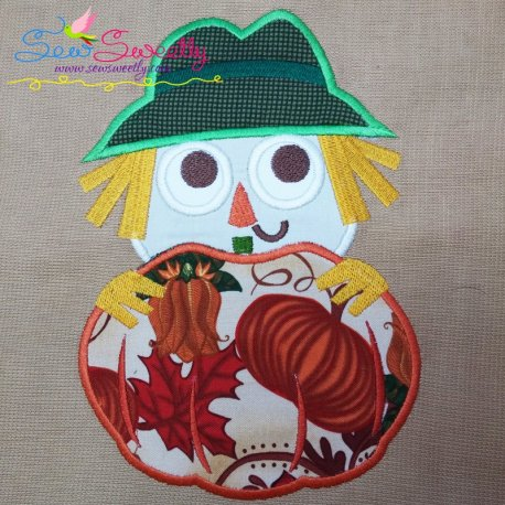Scarecrow With Pumpkin Applique Design Pattern- Category- Fall And Thanksgiving- 1