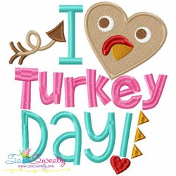 I Heart Turkey Day Lettering Embroidery Design