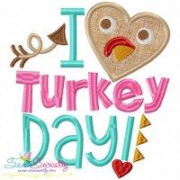 I Heart Turkey Day Lettering Applique Design
