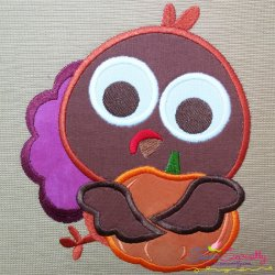 Turkey With Pumpkin Applique Design