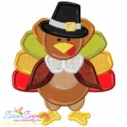 Pilgrim Turkey With Hat Applique Design