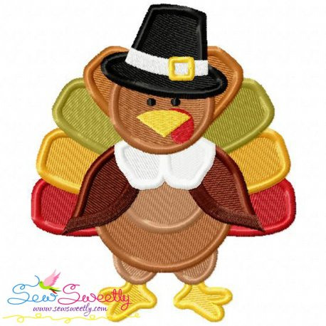 Pilgrim Turkey With Hat Embroidery Design