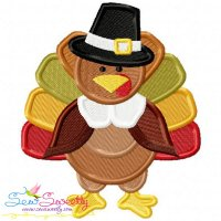 Pilgrim Turkey With Hat Embroidery Design