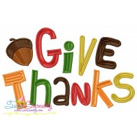 Give Thanks Lettering Embroidery Design