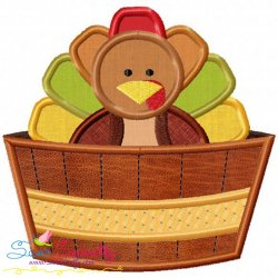 Turkey in Barrel Applique Design
