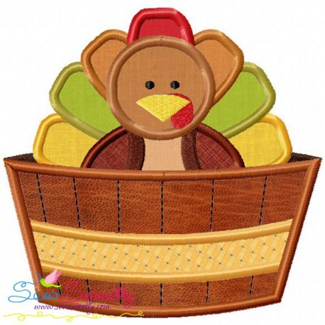 Turkey in Barrel Applique Design
