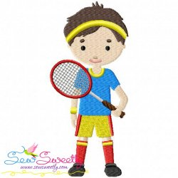 Badminton Player Embroidery Design