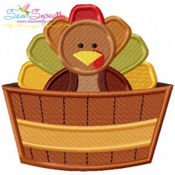 Turkey in Barrel Embroidery Design