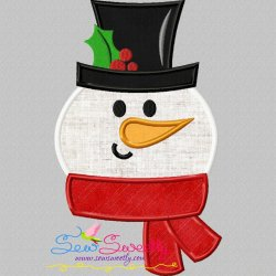 Cute Snowman Applique Design