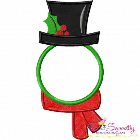 Snowman Monogram Frame Applique Design Pattern- Category- Christmas Designs- 1