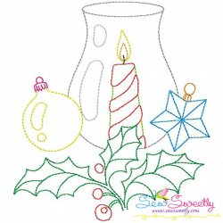 Free Christmas Bean Stitch Candle-1 Embroidery Design