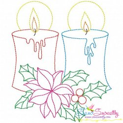 Christmas Bean Stitch Candle-2 Embroidery Design