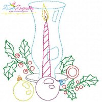 Christmas Bean Stitch Candle-3 Embroidery Design