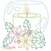 Christmas Bean Stitch Candle-4 Embroidery Design