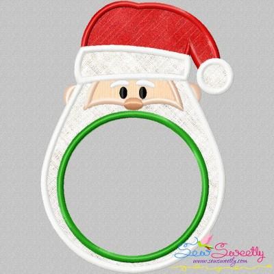 Santa Monogram Frame Applique Design