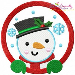 Snowman Frame Embroidery Design