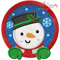 Snowman Frame Applique Design