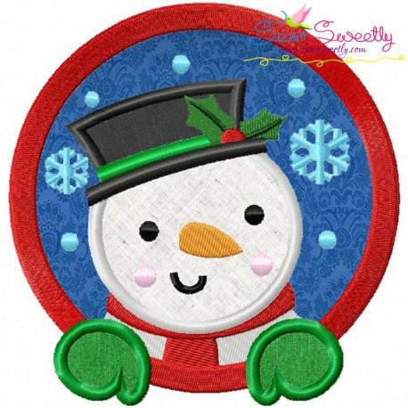 Snowman Frame Applique Design