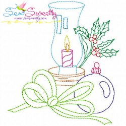 Christmas Bean Stitch Candle-5 Embroidery Design