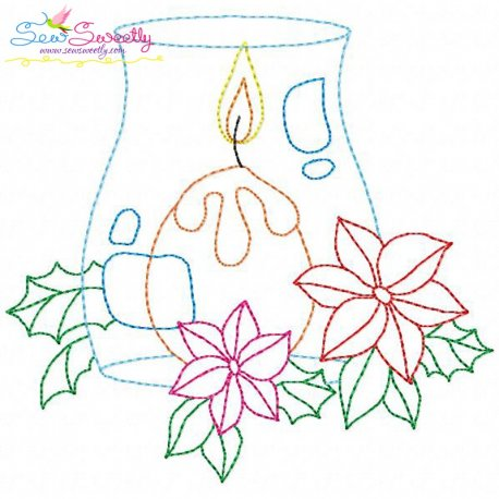 Christmas Bean Stitch Candle-6 Embroidery Design
