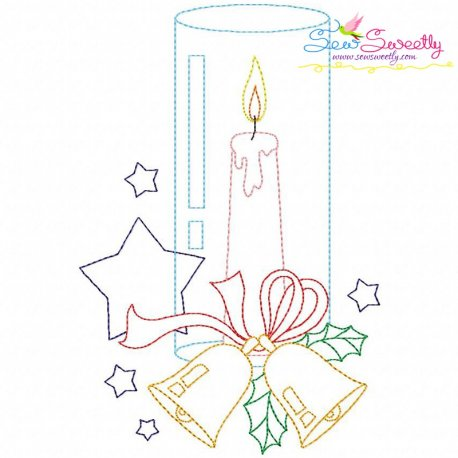 Christmas Bean Stitch Candle-7 Embroidery Design