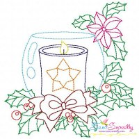 Christmas Bean Stitch Candle-8 Embroidery Design