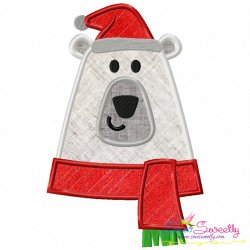 Christmas Polar Bear Applique Design