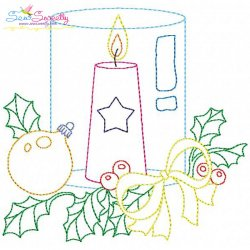Christmas Bean Stitch Candle-9 Embroidery Design