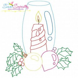 Christmas Bean Stitch Candle-10 Embroidery Design