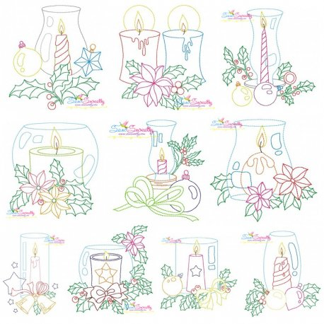 Christmas Bean Stitch Candles-Full Set Embroidery Design Bundle Pattern- Category- Embroidery Design Bundles- 1